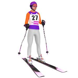 3D rigged female skier 3 model