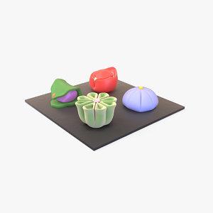 3D model japanese wagashi