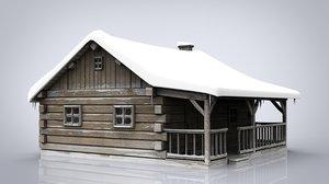 3D log cabin model