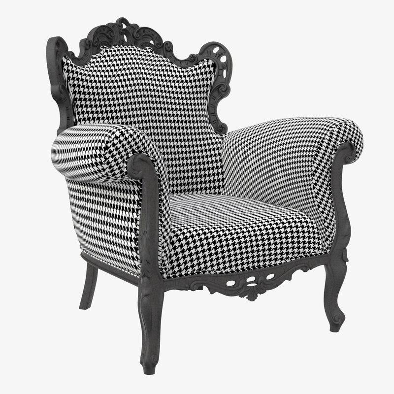 3D pepita armchair chair