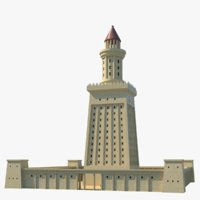 ancient lighthouse alexandria lights 3D model