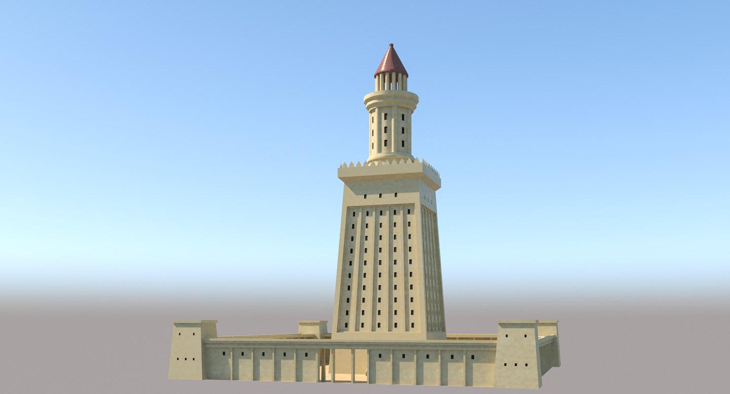 ancient lighthouse alexandria lights 3D model