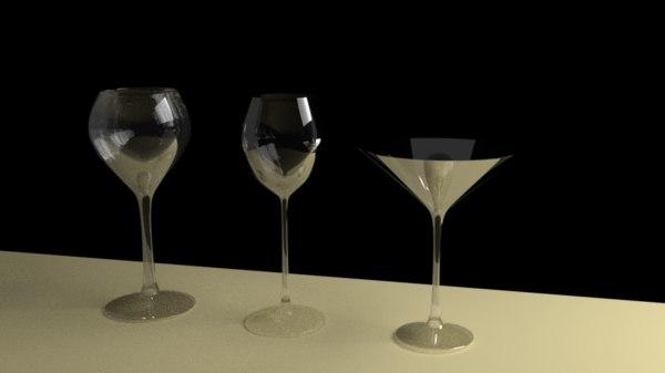 glasses set - cocktails 3D model