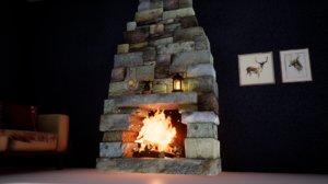 furniture norvedem fireplace 3D
