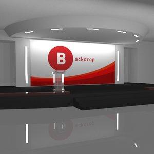 3D auditorium stage backdrop