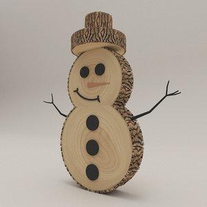 snowman wood snow 3D model