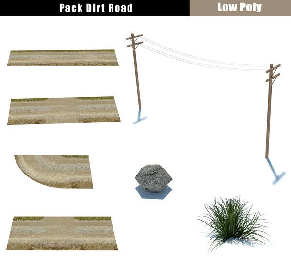 3D model dirty pack road