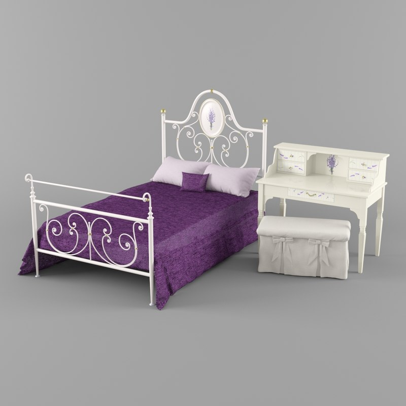 3D model alice table lavender