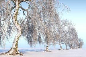 winter trees hd pack 3D model