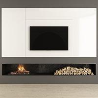 firewood fireplace tv 3D model