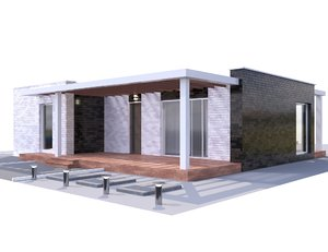 3D modern brick house model