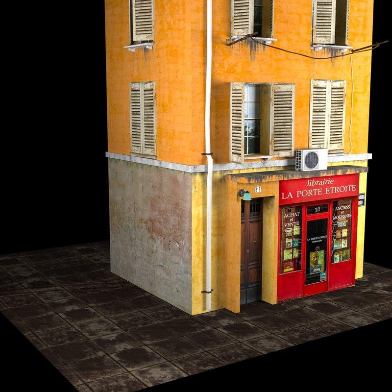 european apartment building model
