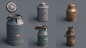 3D model milk cans