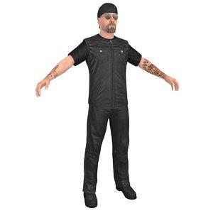 3D biker man 2 model