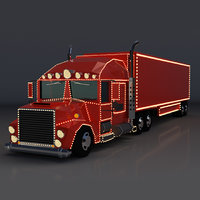 Low Poly Cartoon Christmas Truck