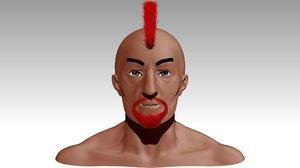 male head punker 3D model