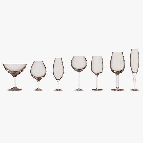 wine glasses 3d model