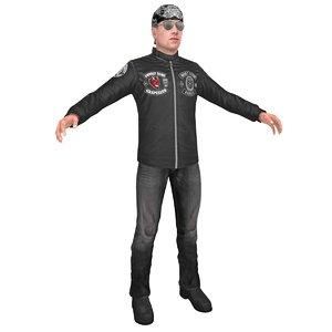 3D model biker man 2