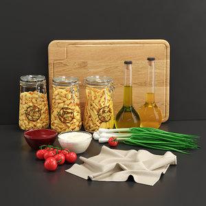 3D pasta dry set model