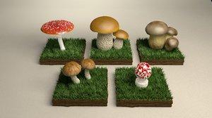 3D model mushroom shiikate