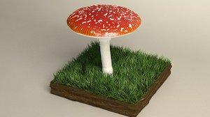 3D mushroom amanita