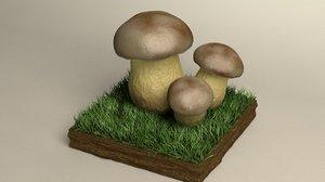 mushroom boletus 3D