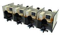 3D model office computer