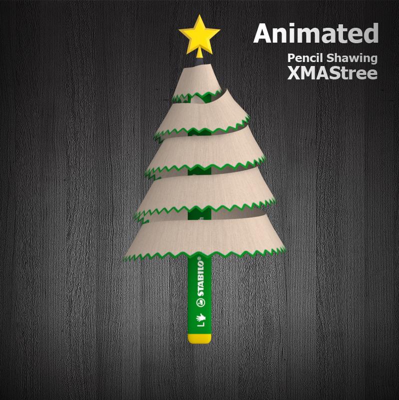 3D pencil animation xmas tree