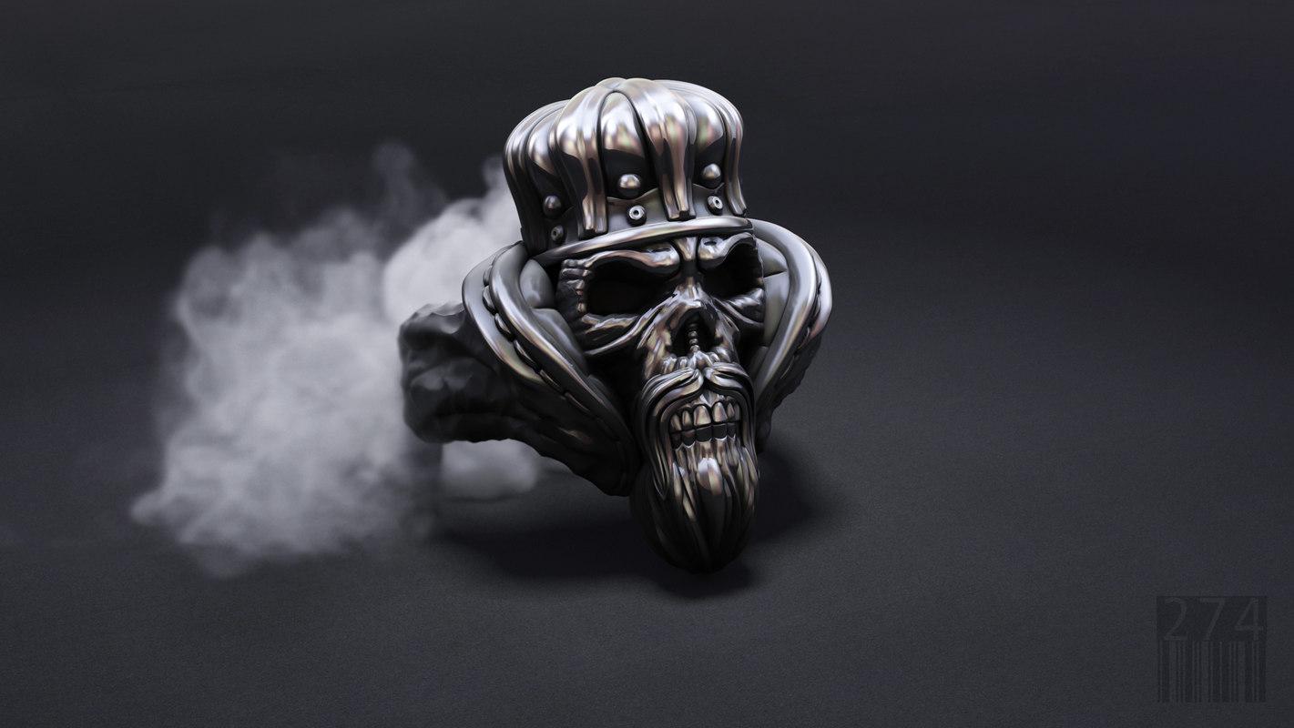 3D model jewellery skull ring crown