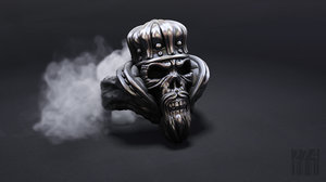 3D model jewellery skull ring crown