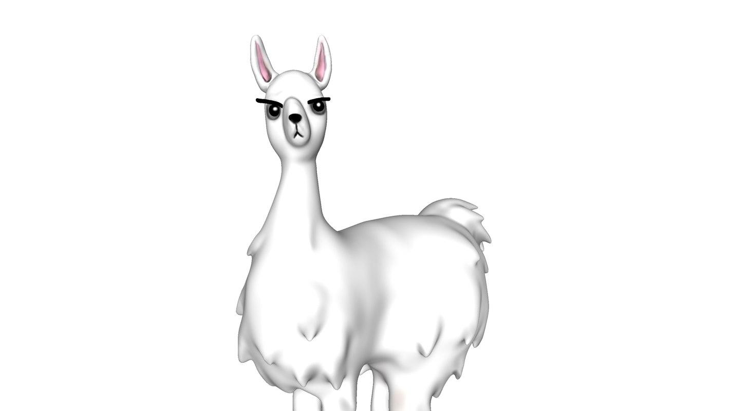 3D cute grumpy lama