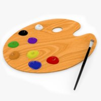 3D paint palette brush model