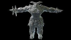 3D reptile warrior model
