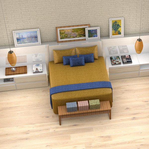 3D couple bedroom l037 scene