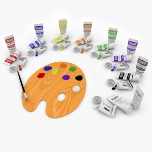 paint brush palette tubes 3D model