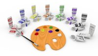 paint brush palette tubes 3D model