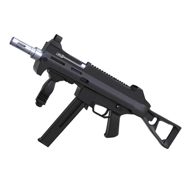 3D light submachine gun weapon model