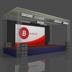 concert stage backdrop 3D
