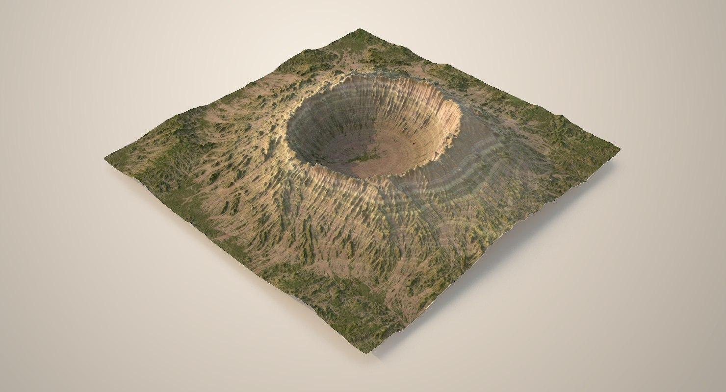 3D crater terrain