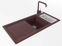 3D axon deep red kitchen sink