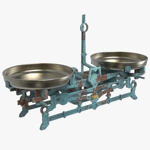 antique cast iron scales 3d model