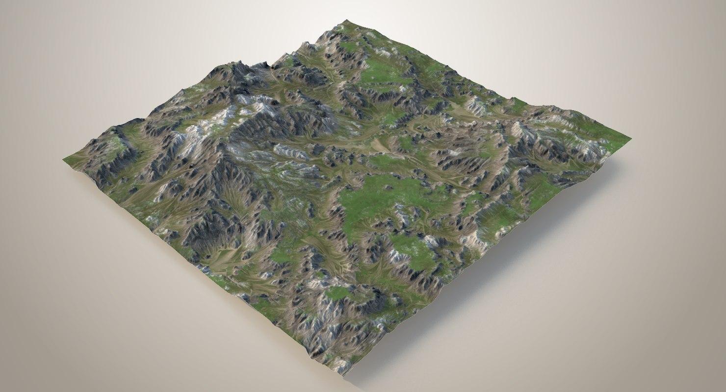 3D model grassy terrain - 3