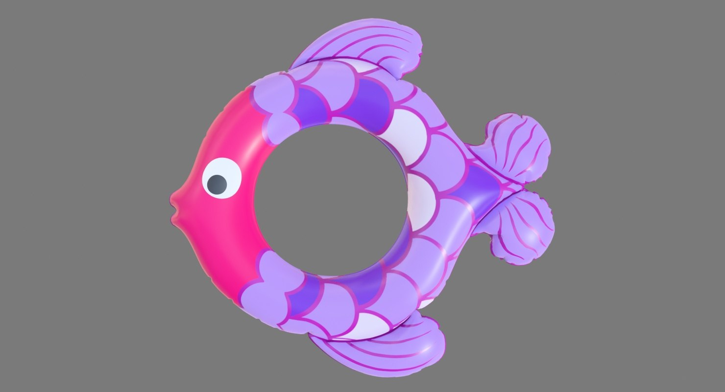 realistic float ring fish 3D model