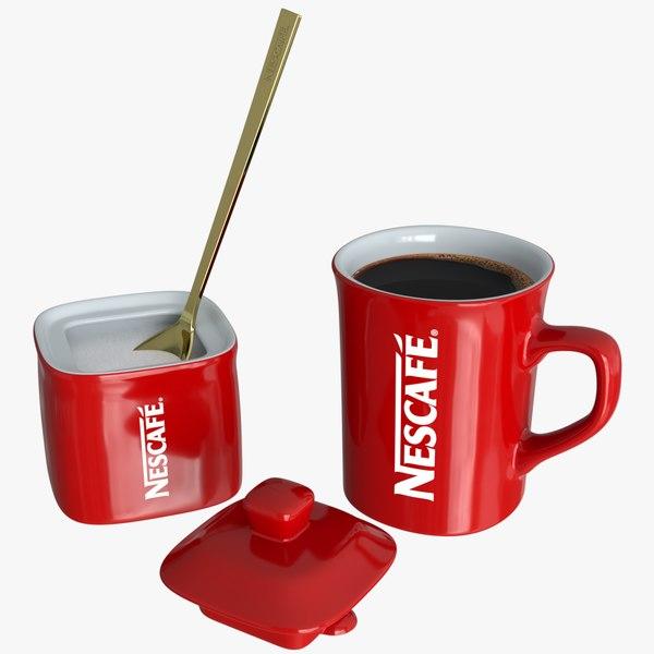 realistic nescafe cup sugar 3D model