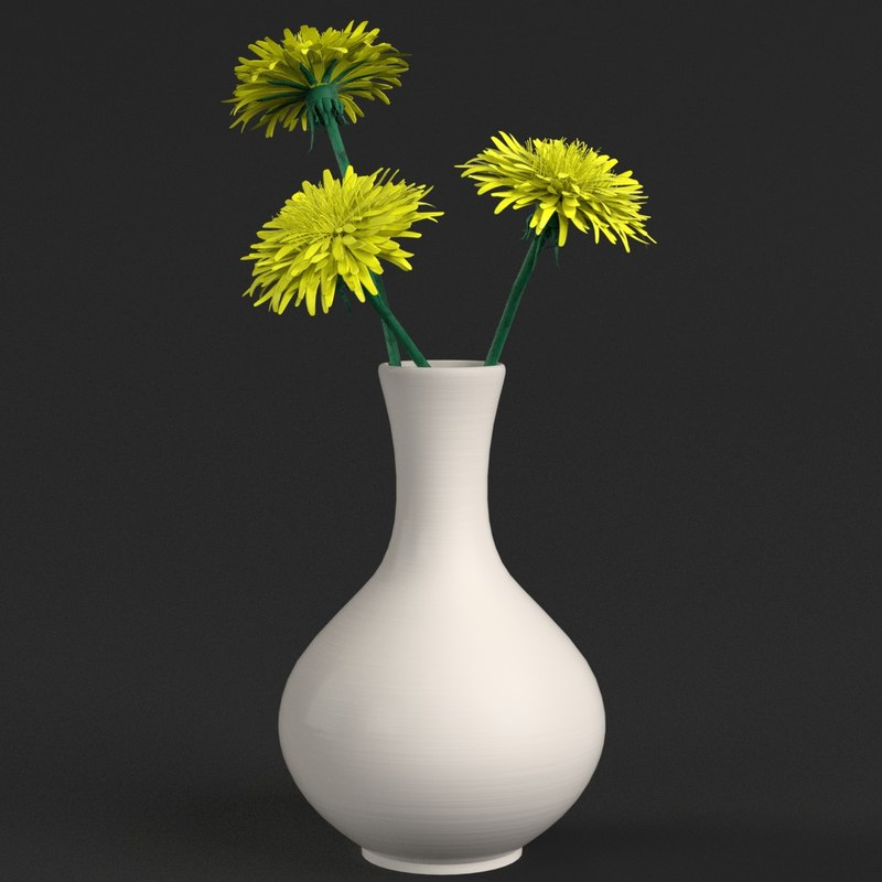 dandelion flowers vase 3D model