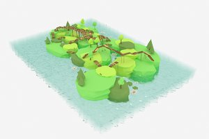 swamp island bridges 3D model