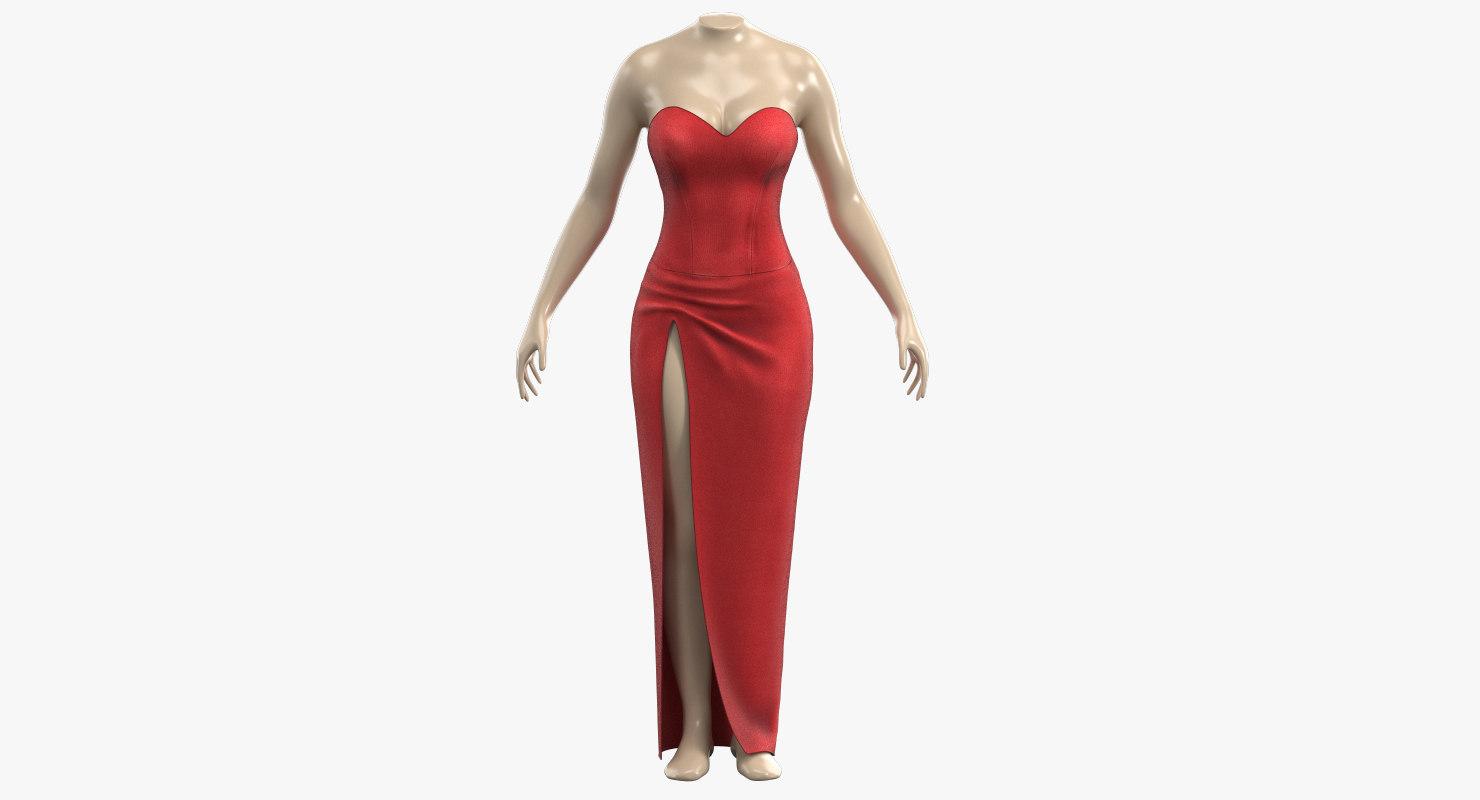 3D red sexy dress
