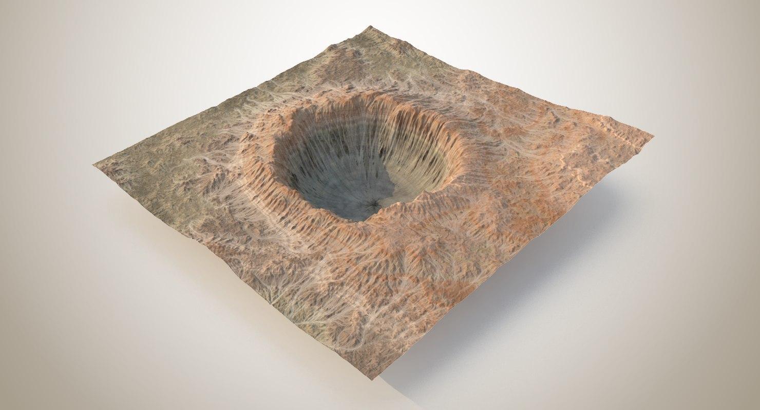 3D crater terrain - 2 model