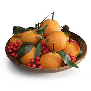 3D wooden holly berries mandarin