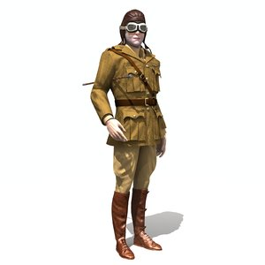 aviator wwi british pilot 3D